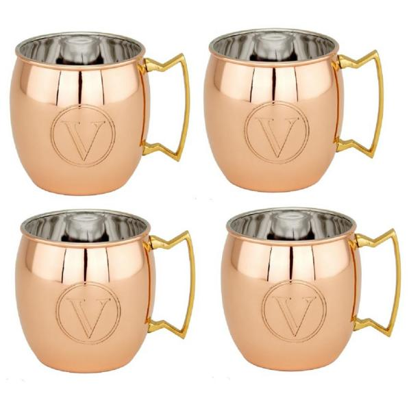 Old Dutch 16 oz. Solid Copper Moscow Mule Mugs and Monogram