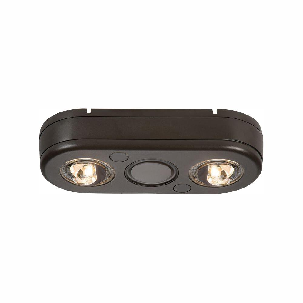 All Pro Revolve Bronze Twin Head Outdoor Integrated Led Security Flood Light At 3500k Bright White Switch Controlled
