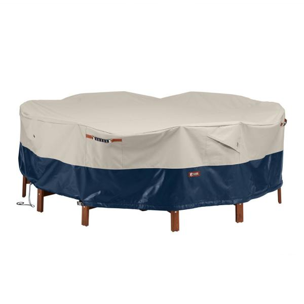 Mainland 94 in. L x 94 in. W x 23 in. H Fog/Navy Round Patio Table and Chair Set Cover