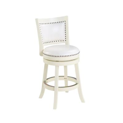 Bristol 24 in. White Swivel Cushioned Bar Stool