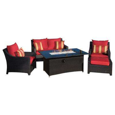 Deco 5-Piece Love and Club Patio Fire Pit Seating Set with Cantina Red Cushions