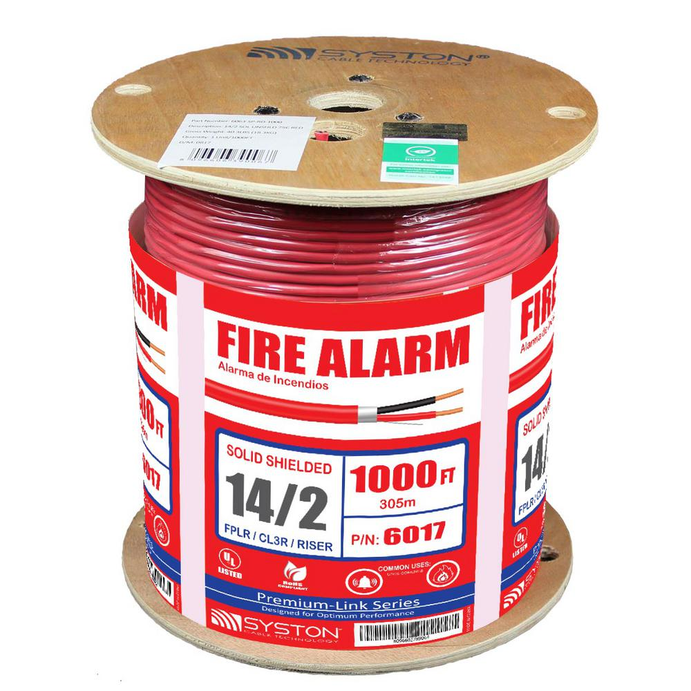 Syston Cable Technology 14 2 Solid Shielded Cl3r Riser Red 1000 Ft Electrical Wiring Fires Spool