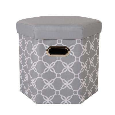 15 in. H Gray Hexahedron Oxford Foldable Storage Ottoman with Padded Seat