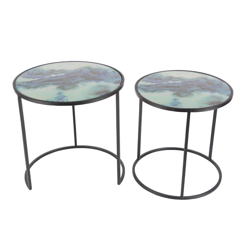 Beau Nesting Iron And Glass Accent Table (Set Of