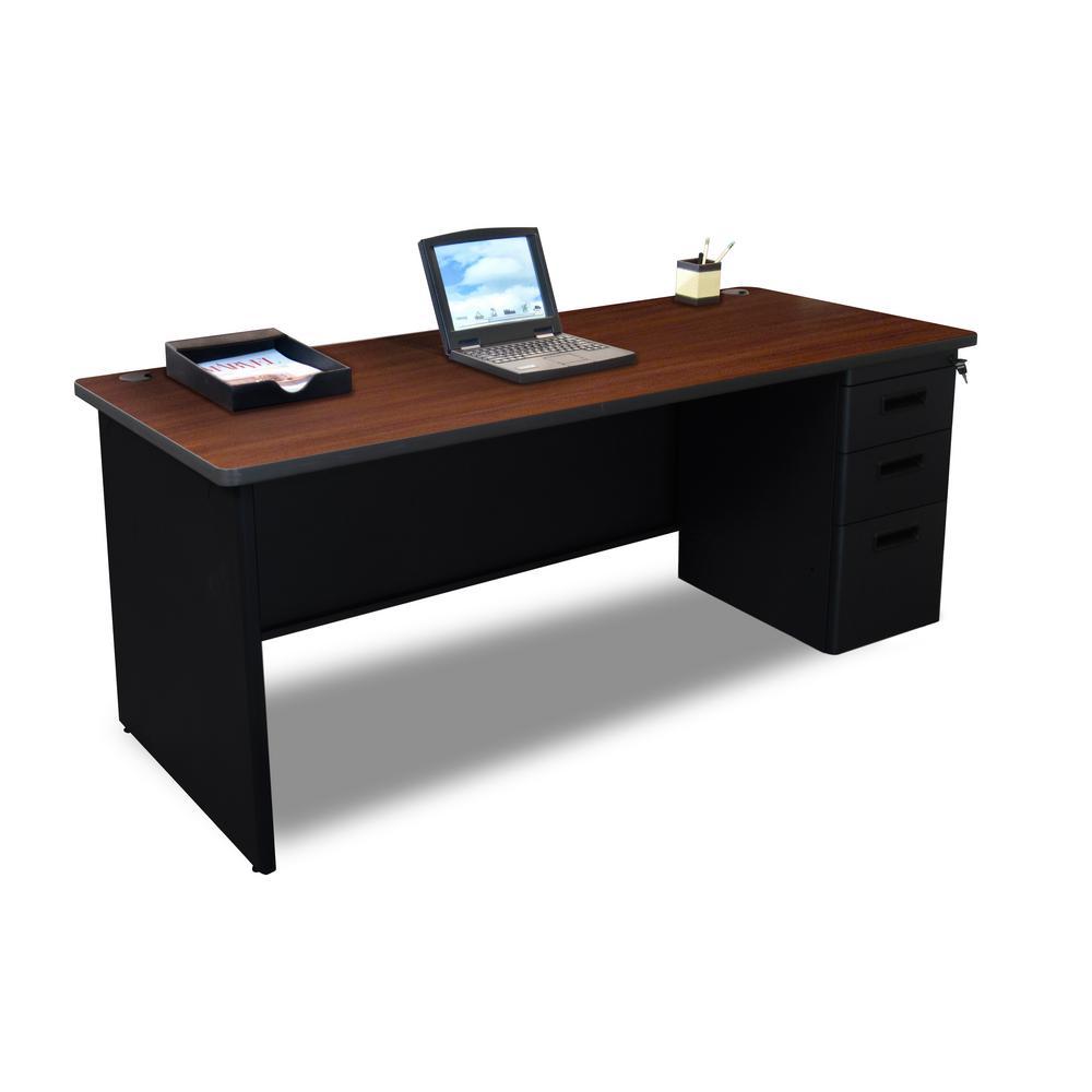 72 in. W x 36 in. D Mahogany Laminate and Black  Single Full Pedestal Desk