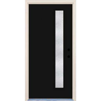 36 in. x 80 in. Inkwell 1 Lite Rain Glass Painted Fiberglass Prehung Front Door with Brickmould