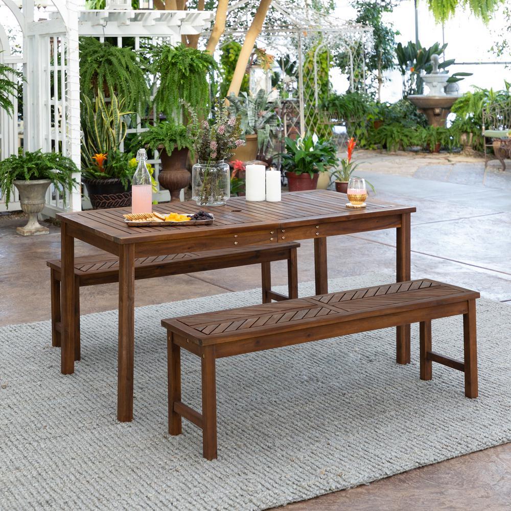 Chevron Dark Brown 3-Piece Wood Outdoor Patio Dining Set