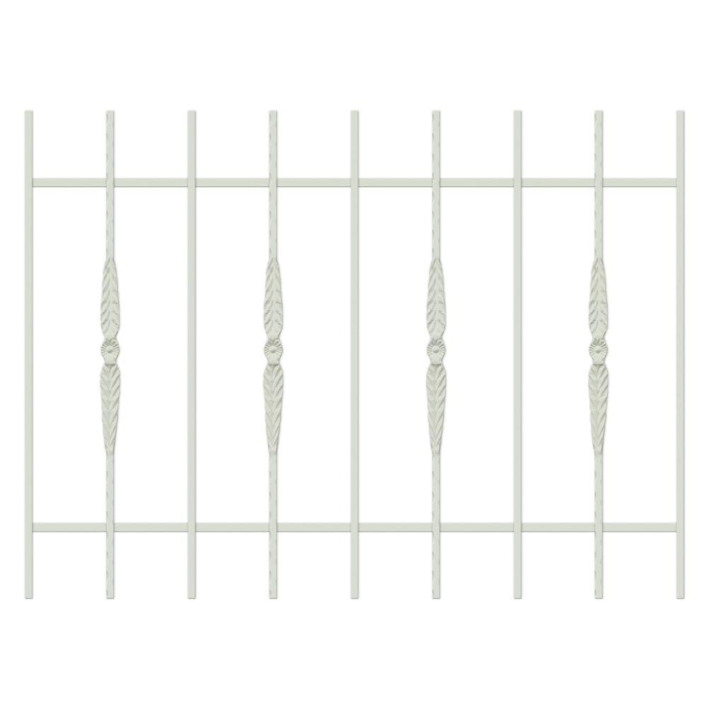Unique Home Designs Cottage Rose 48 in. x 36 in. Almond 9-Bar Window Guard-DISCONTINUED