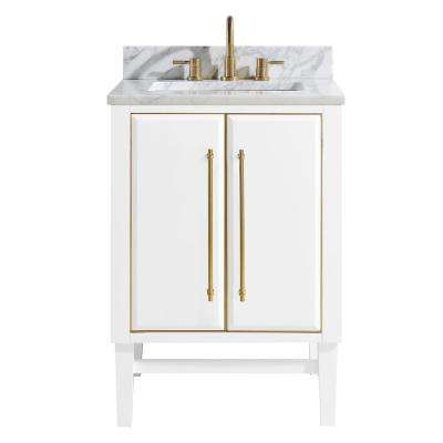 Mason 25 in. W x 22 in. D Bath Vanity in White with Gold Trim with Marble Vanity Top in Carrara White with White Basin