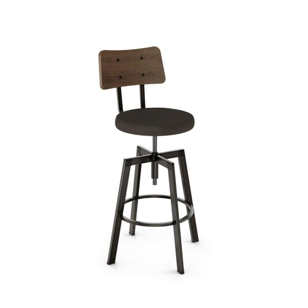 Amisco Symmetry Semi-Transparent Gun Metal Dark brown Grey Polyester Medium Brown Wood Adjustable Stool