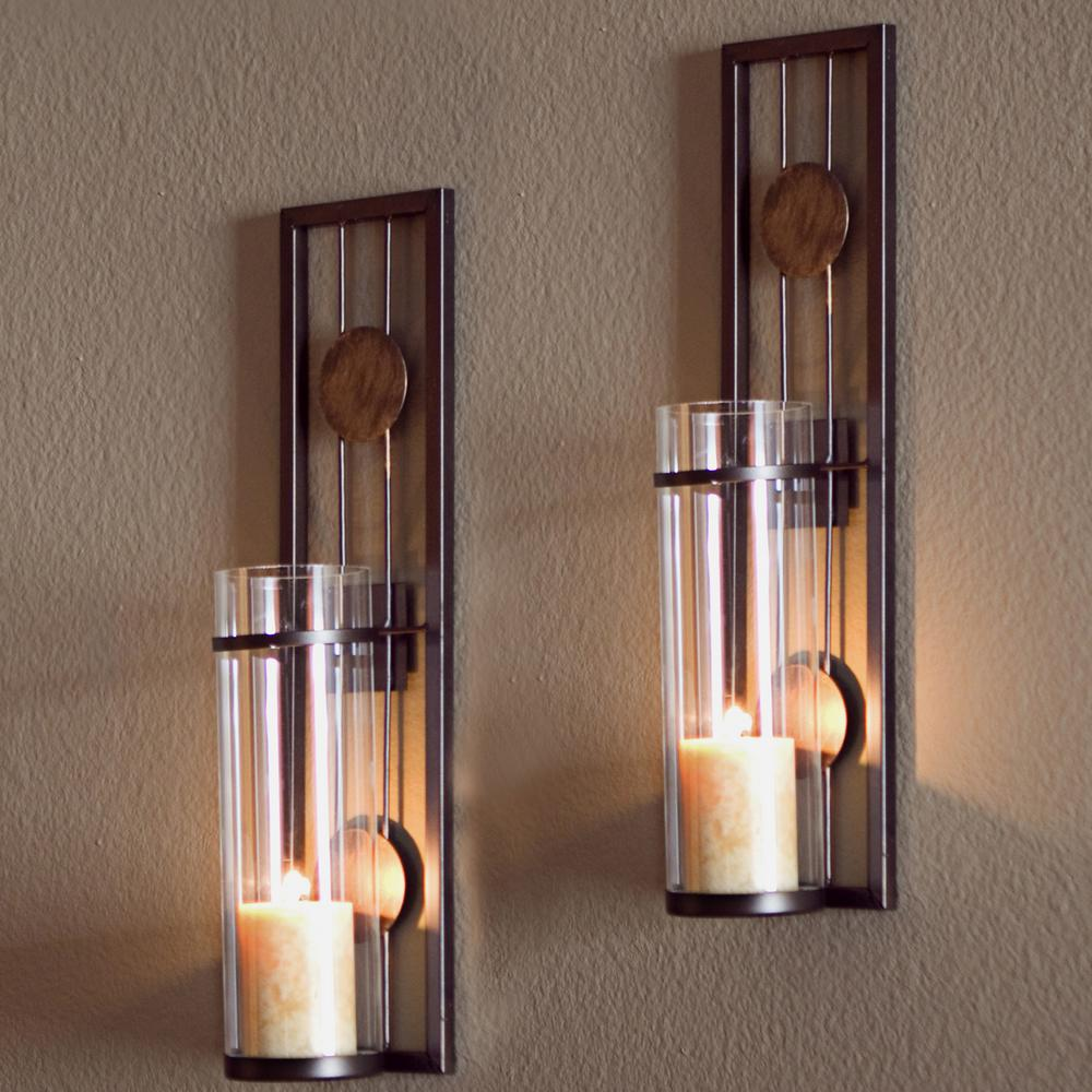 Contemporary Metal Brown Wall Candle Sconces with Antique Patina Medallions (Set