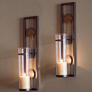 best value 22744 8553b Contemporary Metal Brown Wall Candle Sconces with Antique Patina Medallions  (Set of 2)
