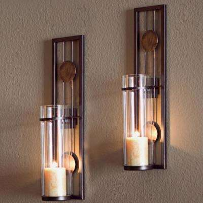 Contemporary Metal Brown Wall Candle Sconces with Antique Patina Medallions (Set of 2)
