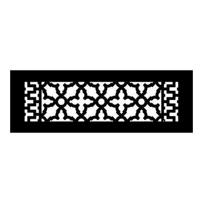 Scroll Series 14 in. x 4 in. Cast Iron Grille, Black without Mounting Holes