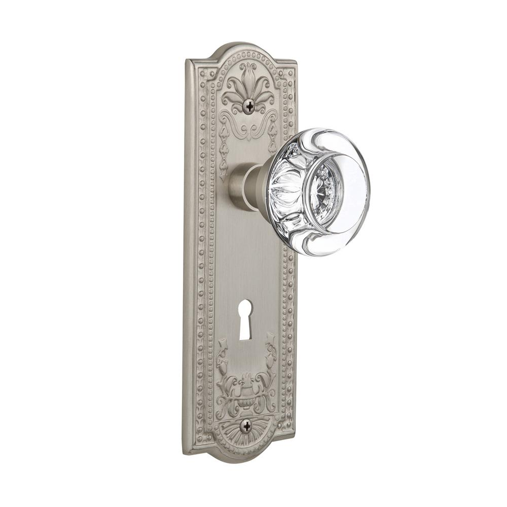 Nostalgic Warehouse Meadows Plate Interior Mortise Round Clear Crystal Glass  Door Knob In Satin Nickel