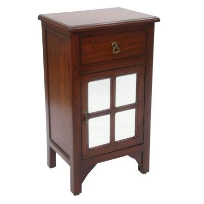 Shelly Mahogany Veneer Wood Cabinet with a Drawer and Door