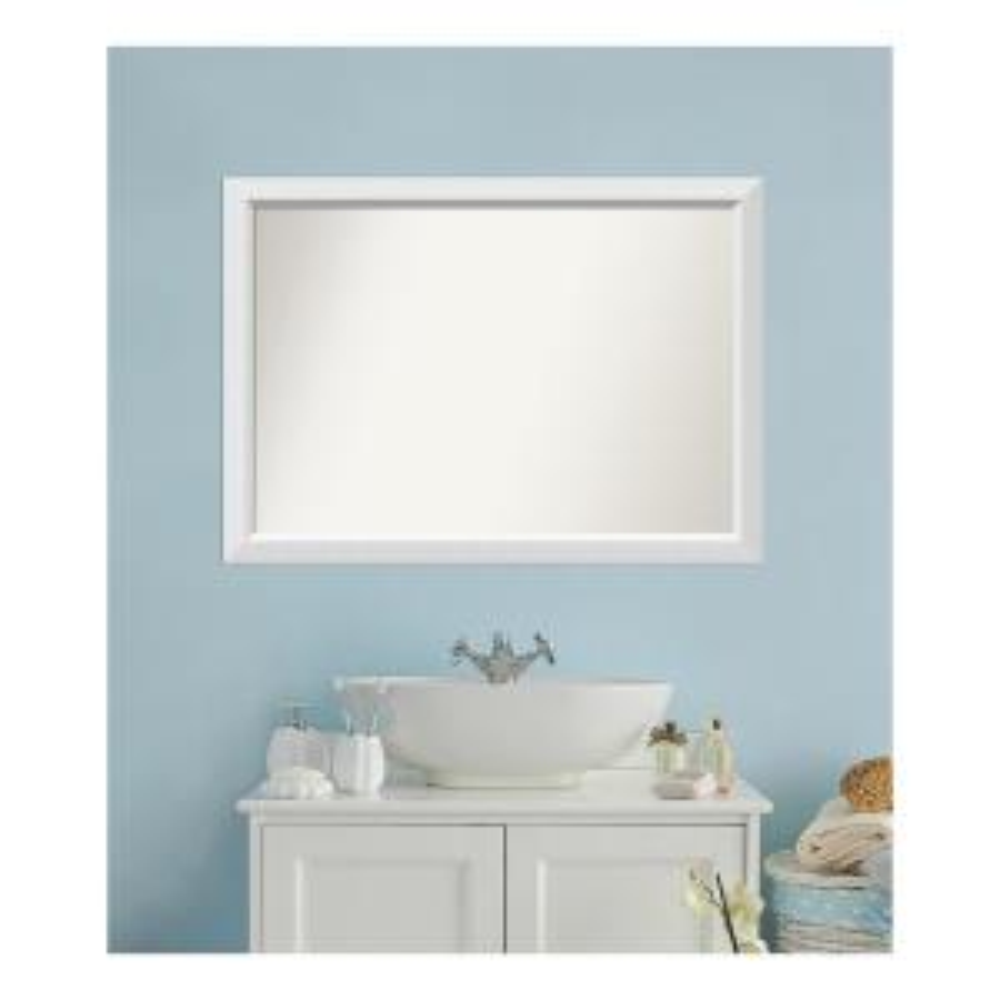 Medium Rectangle White Modern Mirror (30 in. H x 42 in. W)