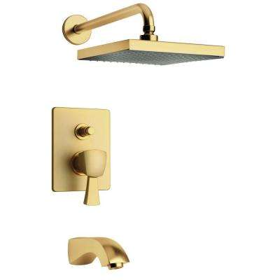 Lady 2-Handle 1-Spray Tub and Shower Faucet with 8 in. Rain Shower Head in Satin Gold (Valve Included)