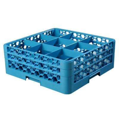 19.75x19.75 in. 9-Compartment 2 Extender Glass Rack (for Glass 5.56 in. Diameter, 6.34 in. H) in Blue (Case of 3)
