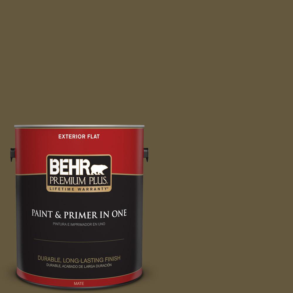 1 gal. #PPU7-01 Moss Stone Flat Exterior Paint