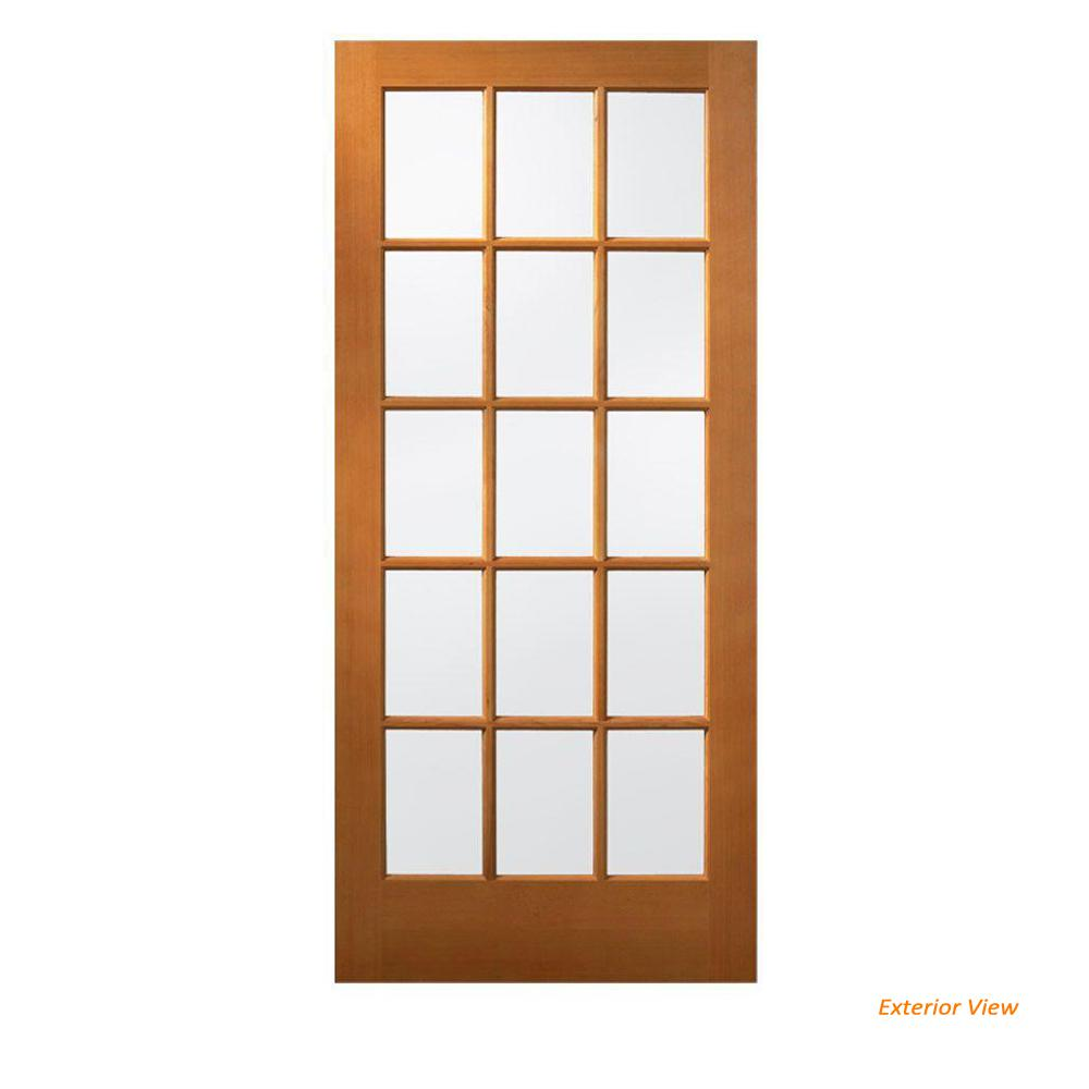 JELD-WEN 36 In. X 80 In. 15 Lite Unfinished Wood Front