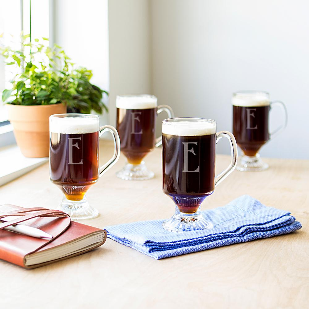 Cathy S Concepts 10 Oz Clear Glass Irish Coffee Mugs Set Of 4 4114 E The Home Depot
