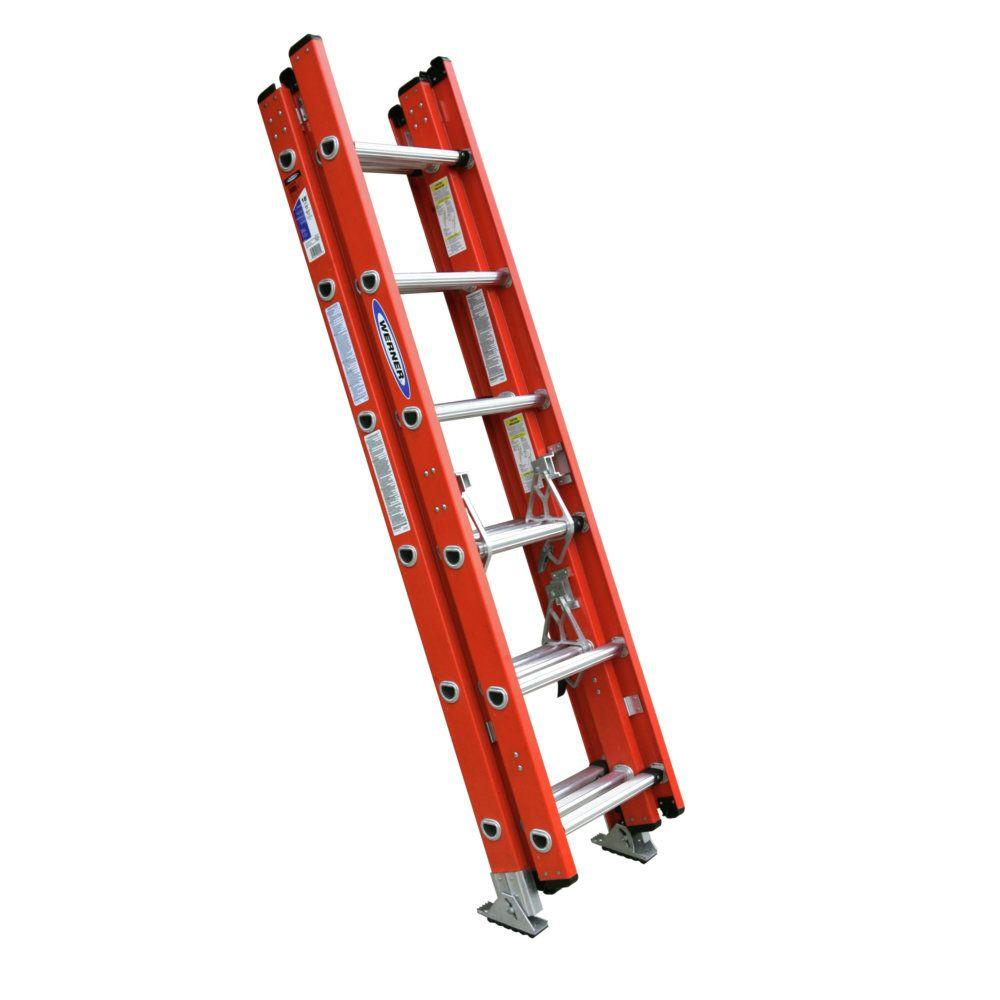 Werner 16 ft. Fiberglass Compact Extension Ladder with 300 lb. Load Capacity Type IA Duty Rating