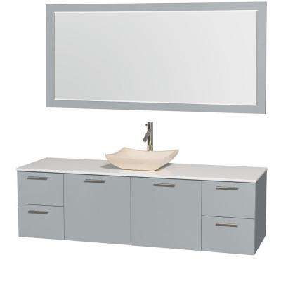 Amare 72 in. W x 22 in. D Vanity in Dove Gray with Solid-Surface Vanity Top in White with Ivory Basin and 70 in. Mirror