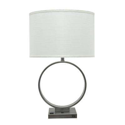 29-1/2 in. Pewter Metal Table Lamp with Oval Shaped Lamp Shade in Off White