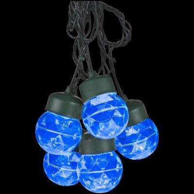 8-Light Blue Outdoor Projection Round Light String with Clips
