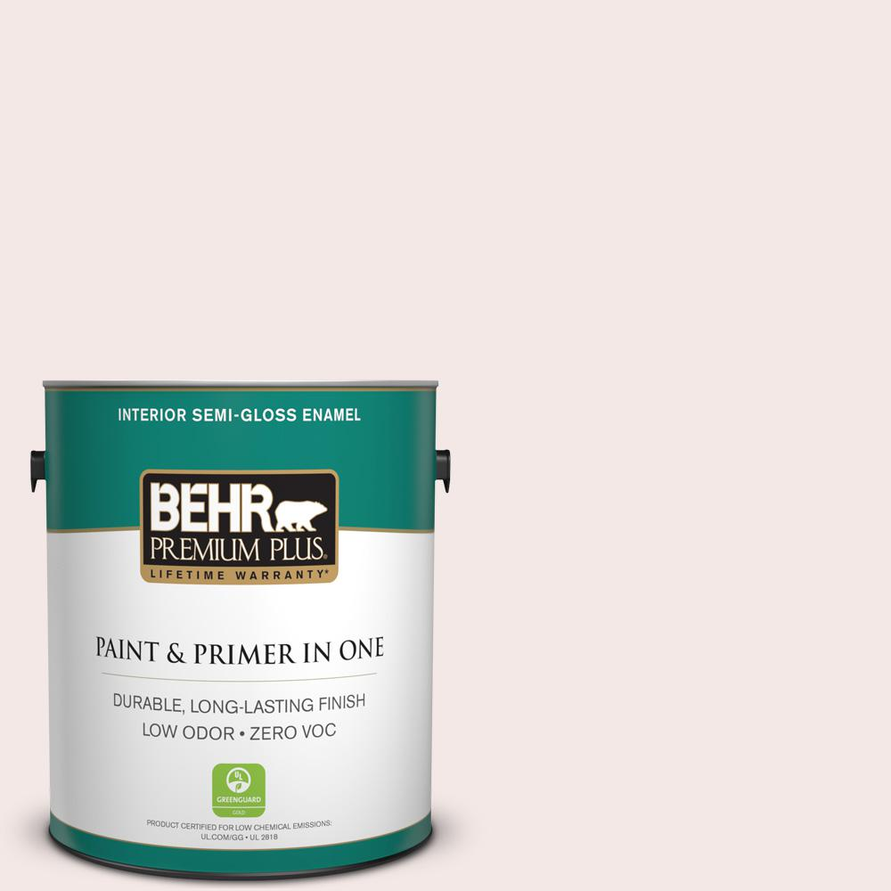 BEHR Premium Plus 1-gal. #770A-1 Quartz White Zero VOC Semi-Gloss Enamel Interior Paint