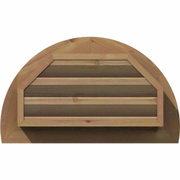 Ekena Millwork 29 In X 17 In Half Round Unfinished Smooth Western Red Cedar Wood Paintable Gable Louver Vent Gvwhr24x1200sfuwr The Home Depot