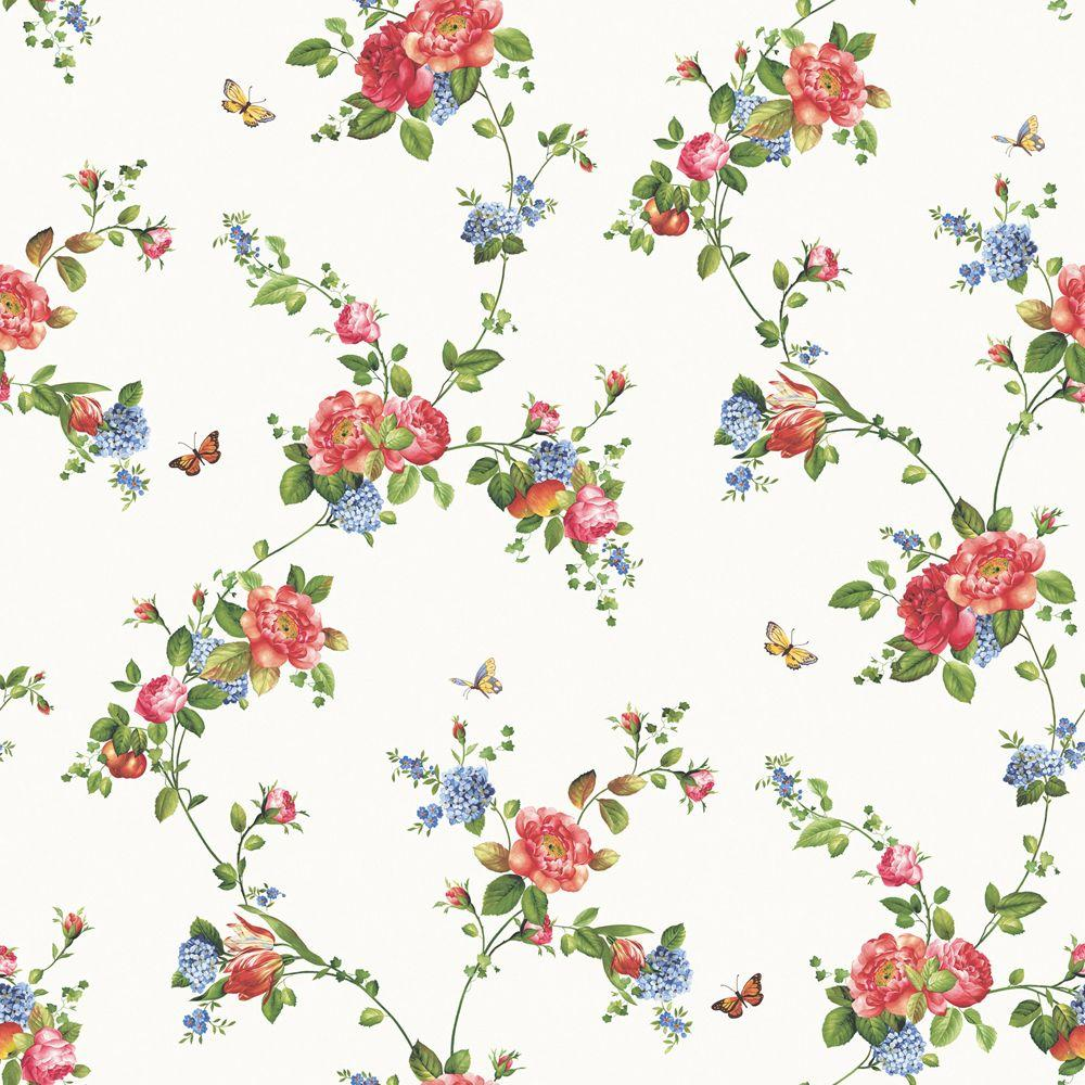 The Wallpaper Company 56 sq. ft. Primary Colored Floral Trail Wallpaper