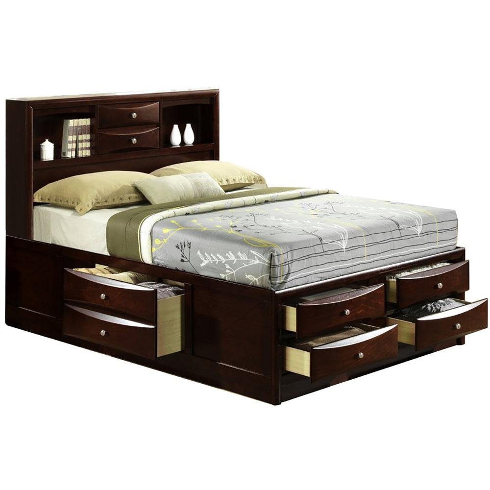 Orleans Cherry Queen Storage Bed-98126BQU-CH - The Home Depot