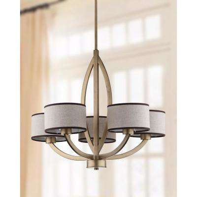 Talia 5-Light Antique Gold Chandelier with Cream Shade