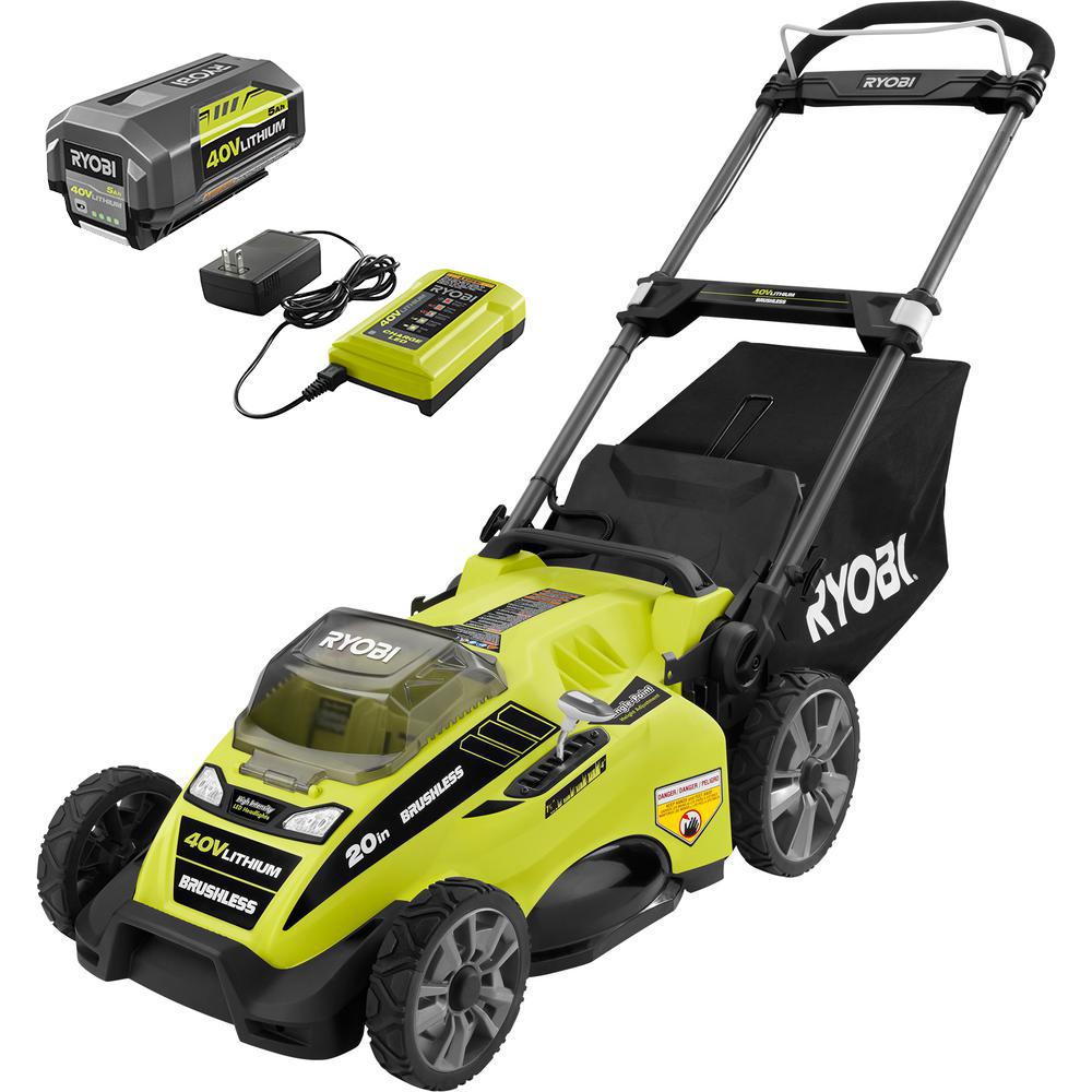 RYOBI 20 in. 40-Volt Brushless Lithium-Ion Cordless Battery Walk Behind Push Lawn Mower 5.0 Ah Battery and Charger Included