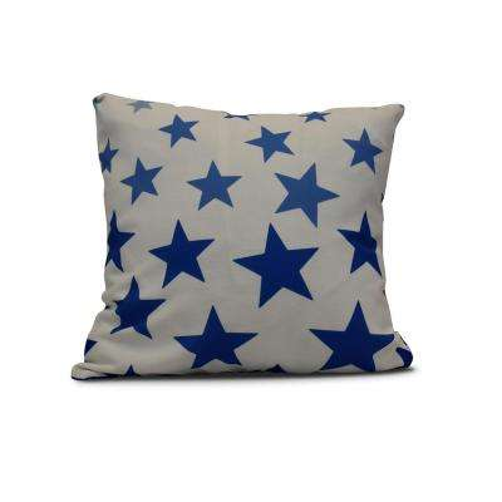 16 in. Just Stars Geometric Print Pillow in Blue