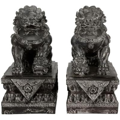 Oriental Furniture 18 in. Sitting Foo Dog Decorative Statues