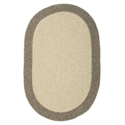 North Stone Grey 2 ft. x 4 ft. Braided Oval Area Rug