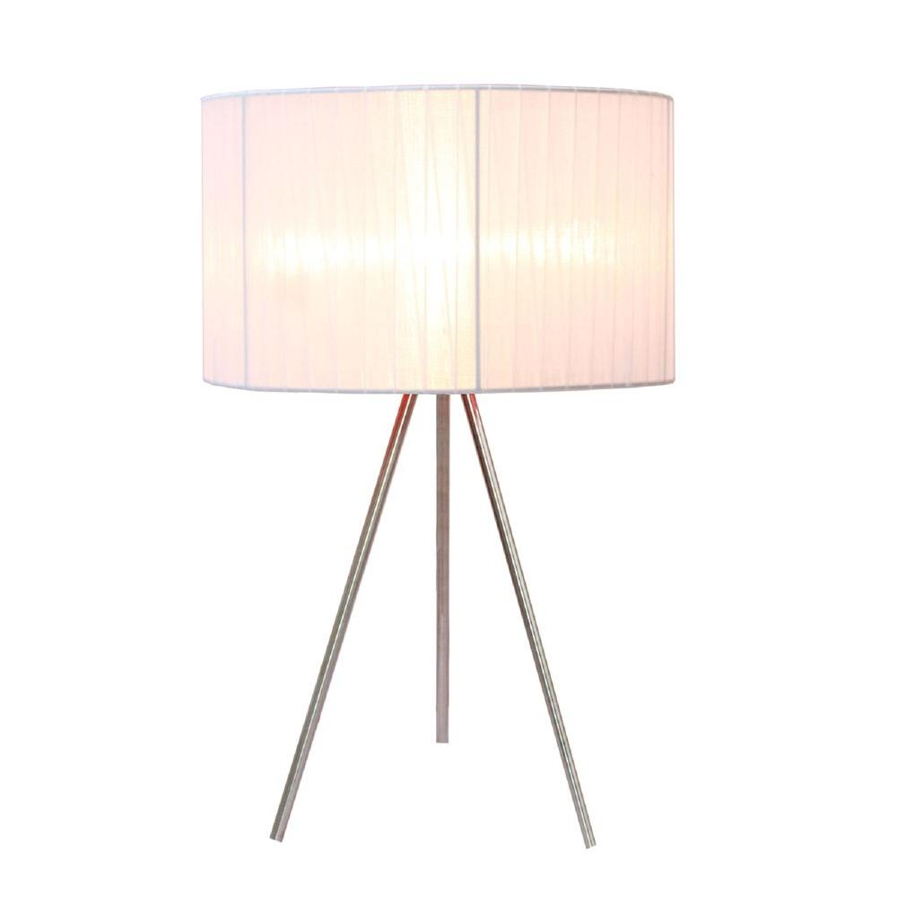 Bon Brushed Nickel Tripod Table Lamp With White Pleated Silk Sheer Shade
