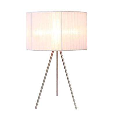 Brushed Nickel Tripod Table Lamp With White Pleated Silk Sheer Shade