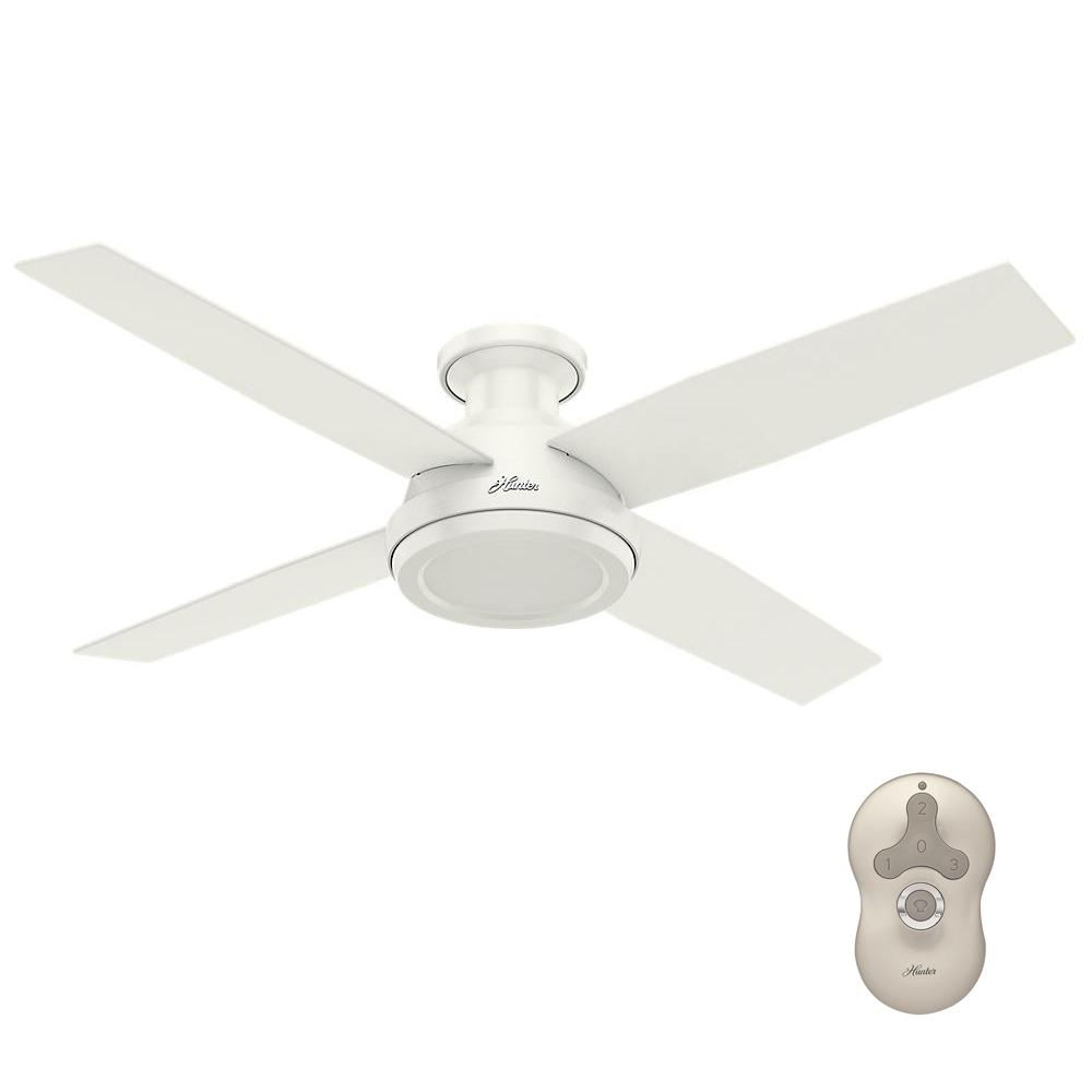 Hunter Dempsey 52 in. Low Profile No Light Indoor Fresh White Ceiling Fan