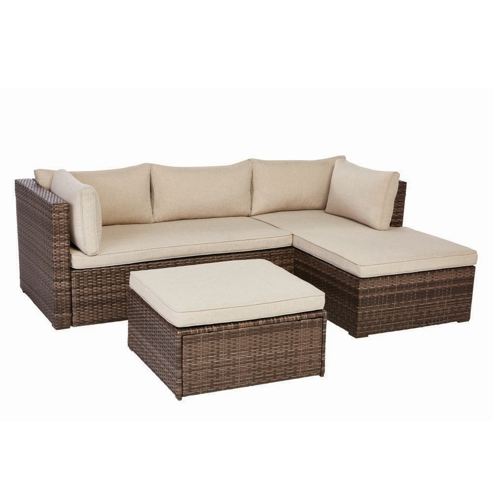 Valley Peak Low Profile 3-Piece All-Weather Wicker Outdoor Sectional Set  with Beige Cushions
