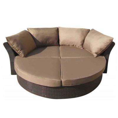 Brown Wicker Outdoor Day Bed with Tan Polyester Cushions