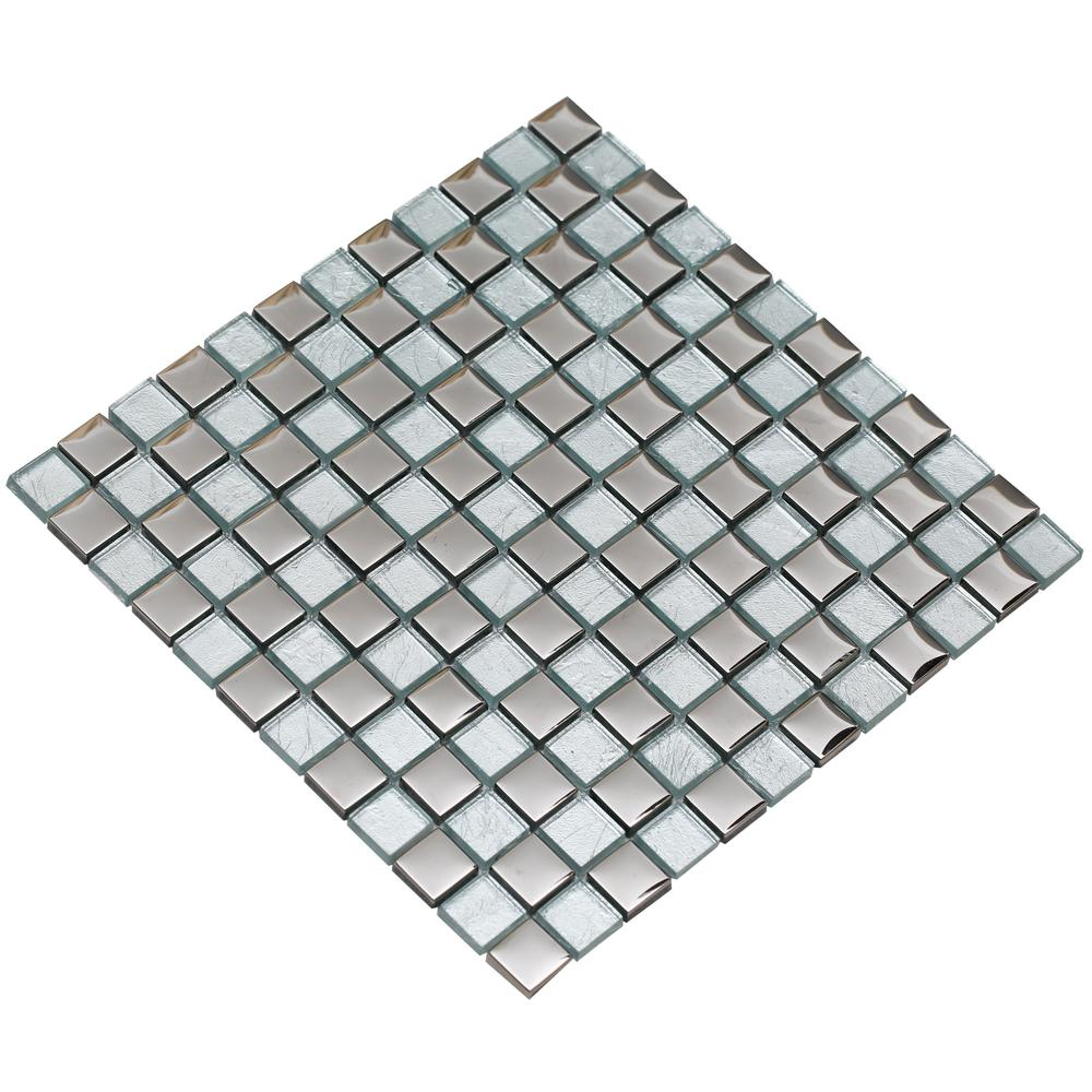 Mirrella bella 04 silver 12 in x 12 in x 8 mm glass for Installing glass tile with mesh back