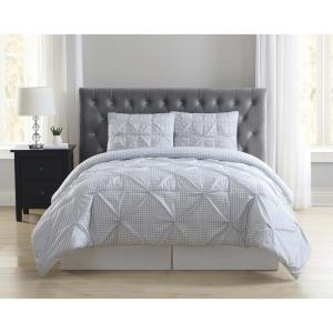 Everyday Gingham Pleat Gray Queen Duvet Set