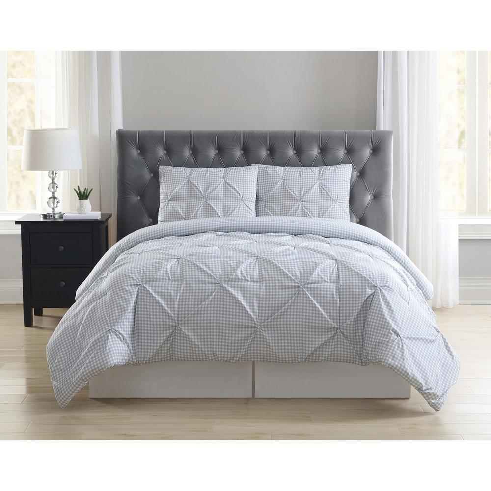 Truly Soft Everyday Gingham Pleat Gray King Duvet Set