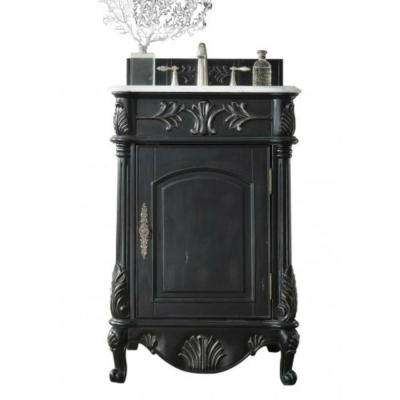 St. James 24 in. W Single Vanity in Empire Black with Marble Vanity Top in Carrara White with White Basin
