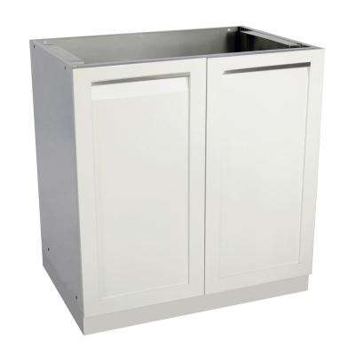 Stainless Steel Assembled 32x35x22.5 in. Outdoor Kitchen Base Cabinet with 2 Full Height Powder Coated Doors in White