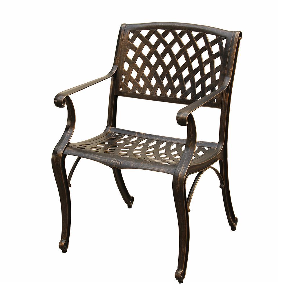 Contemporary Modern Bronze Aluminum Outdoor Dining Chair